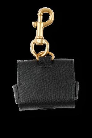 V Logo Signature Earphone Case in Black Leather VALENTINO