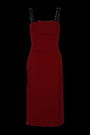 Calf-length cady dress with slit in Light Bordeaux DOLCE & GABBANA
