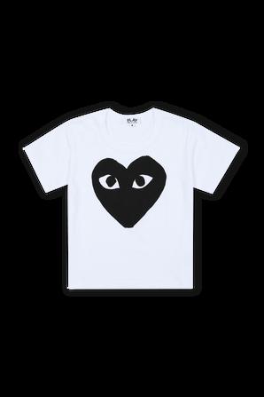 גילאי 2-6 חולצת טי בלבן עם לוגו PLAY שחור COMME des GARCONS KIDS