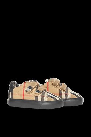 גילאי 17-21 נעלי סניקרס במשבצות אייקוניות BURBERRY
