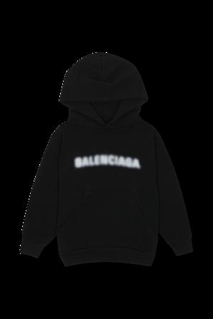 גילאי 2-10 סווטשירט קפוצ'ון שחור עם לוגו מטושטש BALENCIAGA KIDS