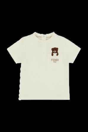 גילאי 3-24 חודשים חולצה לבנה עם דובי רקום על הכיס FENDI KIDS