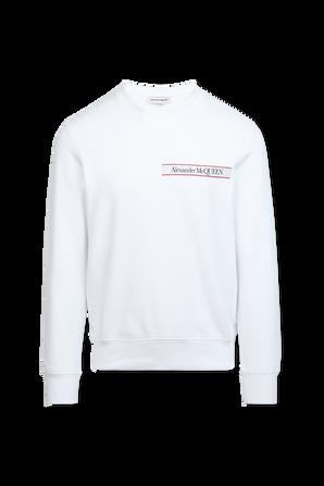 Organic Loopback Sweatshirt in White ALEXANDER MCQUEEN