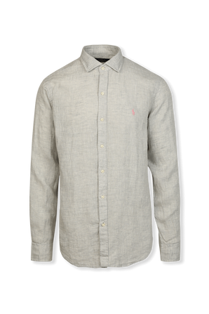 Classic Fit Linen Shirt in Soft Grey POLO RALPH LAUREN