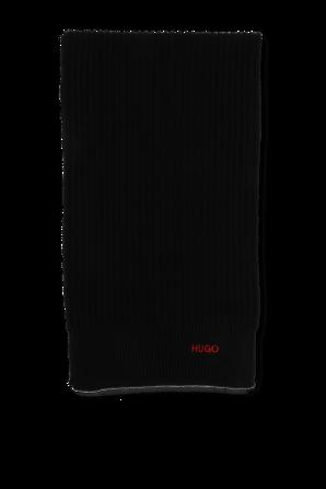 Wool Logo Scarf in Black HUGO
