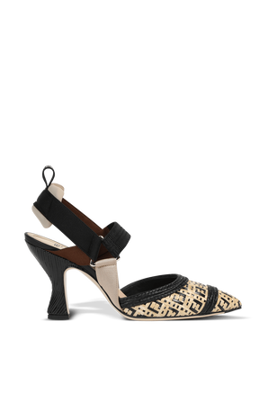 Woven Raffia FF Heels in Brown and Black FENDI
