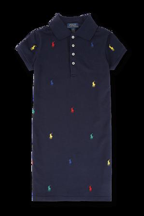 גילאי 8-16 שמלת פולו כחולה עם פרש צבעוני POLO RALPH LAUREN KIDS