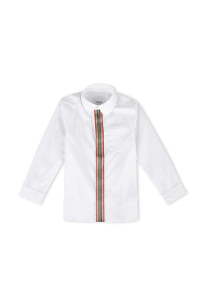 גילאי 3-14 חולצה מכופתרת עם דש מודגש BURBERRY