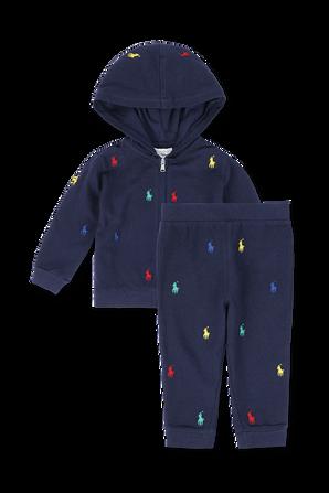 גילאי 3-24 חודשים סט מכנסיים ארוכים וסווטשירט בכחול נייבי POLO RALPH LAUREN KIDS