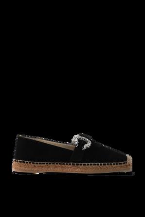 Crystal Flat Espadrille Shoes in Black JIMMY CHOO