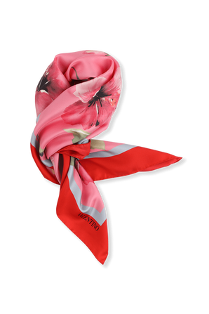 Floral Silk Scarf in Pink and Red VALENTINO