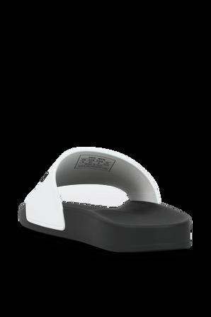 Pool Slide Sandal in Black and White BALENCIAGA