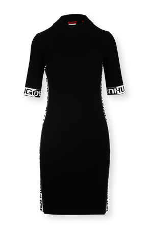 Black Tube Dress with Jacquard Logo Tape HUGO