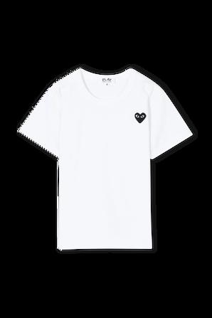 גילאי 2-6 חולצת טי בלבן עם מיני לוגו PLAY שחור COMME des GARCONS KIDS