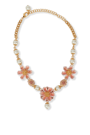 Necklace with resin pearls and flower pendant DOLCE & GABBANA
