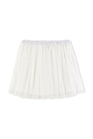 גילאי 6-12 חצאית רב שכבתית בגוון שמנת מנצנץ PETIT BATEAU