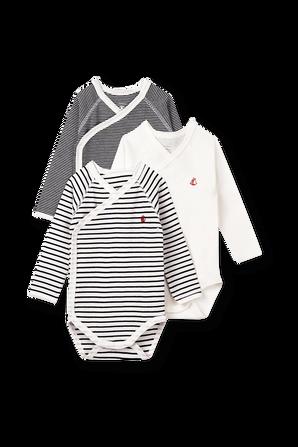 גילאי NB-12 חודשים שלישיית בגדי גוף ארוכים בסגירת קימונו PETIT BATEAU